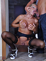 Dressy mature lady swallows some fresh meat and gets slammed from behind