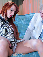 Red-haired milf puts on girlish hearts-n-bow holdups for her boyish lover