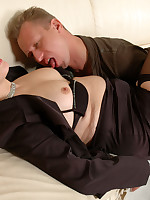 Sultry mature business woman seducing a guy into a breathtaking cock break