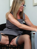 Secretary in nylons flashing and toying