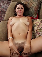 Tan lined housewife Ava Austin toying her hairy bush.