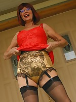 Mature lady striptease outdoors