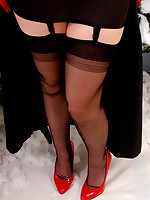 Stockings angel black ff stockings snow high heels