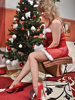 Stockings angel brown dederon reinforced seams christmas