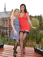 Lara and Katrin lesbo nylons sex