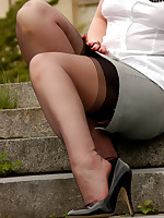 Outdoor in black barefoot stockings