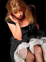 Angel Lovette in black old vinage rht Stockings