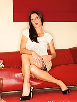 Miss Hybrid - Elegant English Lady In stockings, double layers of glorious pantyhose and stockings