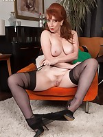 Red in black nylons gives masturbation instruction!