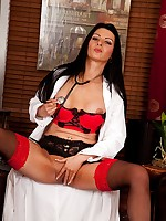 Horny older nurse Sienna Richardson spreads her legs.