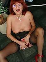 Mature girdle striptease